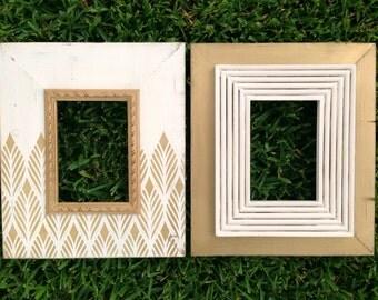 set of two 5x7 distressed frames   metallic gold frame   modern frame set   wedding gift idea   wedding frames   gift for bride   wall decor