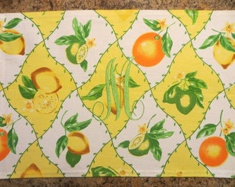 Bright Lemon/Lime/Orange Placemats..Set of 2. FREE MONOGRAM..See monogram on other placemats in my shop..Gift