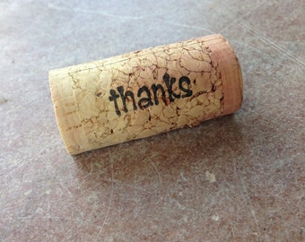 PERSONALIZED THANKS Wine Cork Place Card Holders - set of 25 - Weddings -Birthdays - Shower - Parties