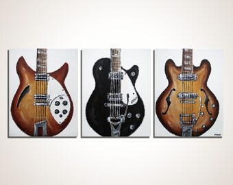 Guitar painting The Beatles Guitar  Rock and Roll Decor Music Art Gift for a musician Original painting on canvas by Magier  MADE TO ORDER