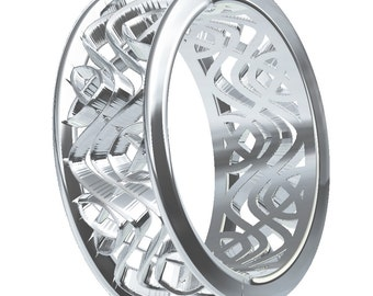 Wedding Ring With Celtic Dara Interwoven Knotwork Design in 18K Gold, Made in Your Size CR-642