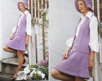 KNITTING PATTERN - 70s Suit Vest Coat - Vintage Pattern - PDF Instant Download - Skirt Floppy Hat Vest Set - Sun Hat - Sweater Vest - Vtg