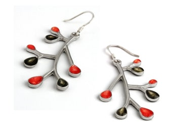 Red Silver Earrings, Branch Earrings, Silver Dangles,Xmas Shopping,Nature Jewelry,Enamel Jewelry,Twig Jewelry,Red Dangles,Xmas Ideas for Her