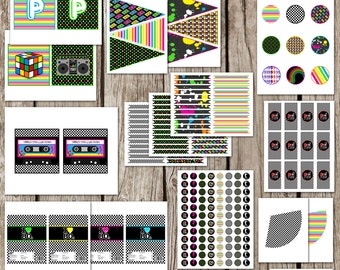 Totally 80s Retro Complete Party Set - 80s Birthday Party - Bachelorette - DIY Printable - Instant Download