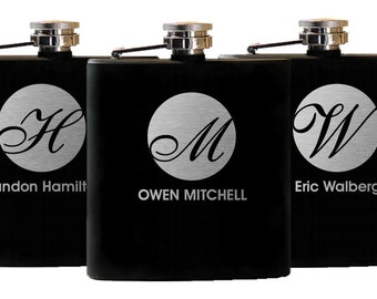 11 Personalized Groomsmen Gifts - Engraved Flask, Custom Flask, Groomsman Best Man Gift, Stainless Flasks, 11 Flasks