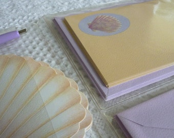 Vintage Illustrated Seashell Stationary Set - 1970's- 1980's