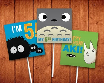 PDF - Printable and Personalized Totoro Cupcake Toppers