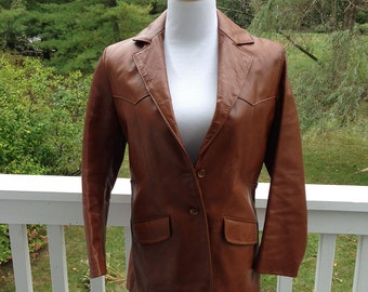 Brown Mod/Hipster 60s-70s Vintage Leather Blazer Coat