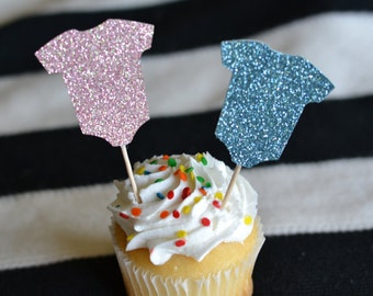 Onesie Glitter Cupcake Toppers : Baby Shower/Gender Reveal