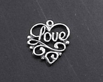 Heart Love Charm Sterling Silver, Valentine Charm Pendant, amor charm, Love charm, silver love charm - SP123