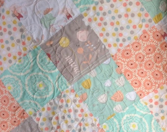 Baby Girl Quilt,The Littlest, Girl About Town, Bunnies, Coral, Mint, Pastel, Baby Blanket, Baby Bedding, Crib Bedding,Nursery, Children