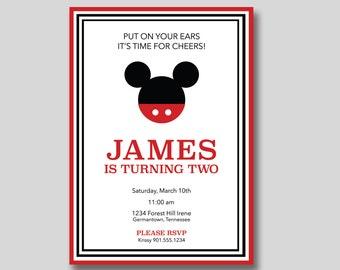 Mickey Mouse Birthday Invitation - Printable