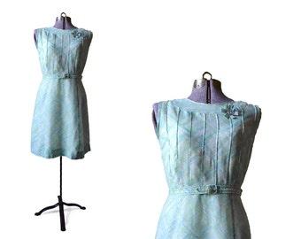 Blue vintage dress, 1960 dress, 60s dress, light blue dress, cotton dress, vintage clothing, medium dress, print dress