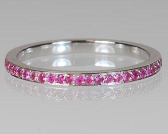 Thin Eternity Band  with  Pink Sapphire 14k White Gold