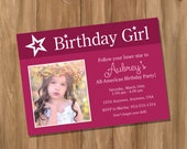 American Doll Girl Birthday Party Invitation with Photo (Digital - DIY)