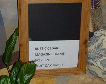 Solid cedar wood 9x12 magazine picture photo craft frame oak finish country rustic display