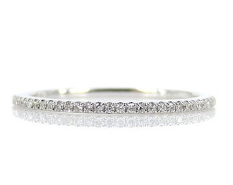 Micro Pave Diamond Eternity Band in 18k White Gold