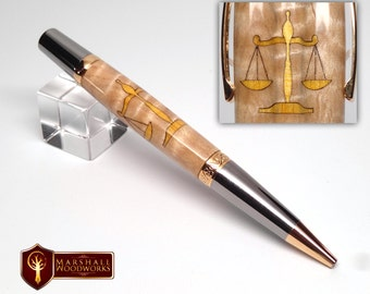 Wood Pen with Scales of Justice