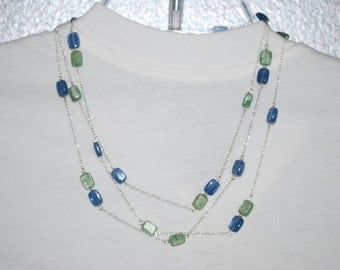 Sterling Silver with blue and green Kyanite necklace