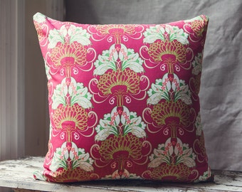 Florence Broadhurst Floral Style Cushion/pillow in Divine Shades of Hot Red/Pink,White, Green and Beige.