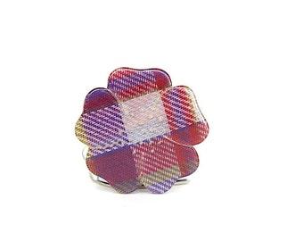 Vintage Lucite Brooch - Flower Pin - Purple Jewelry - Plaid Jewelry - Lucite Jewelry - Gift for Her - Purple Pin - Vintage Pin - Plaid Gift