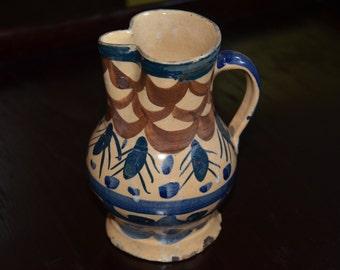 RARE Joseph Mrazek Peasant Art Industry P.A.I. Art Pottery Creamer Pitcher Made in Czechoslovakia