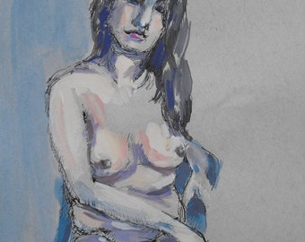 Original figure study, pen, ink, and gouache on paper, from live female model, 9 X 12, Figure 45