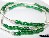 Seed and Noodle Bead Stretch Bracelets - Set of 3 - Emerald Green Seed Beads w/Silver Noodle Beads (SN110)