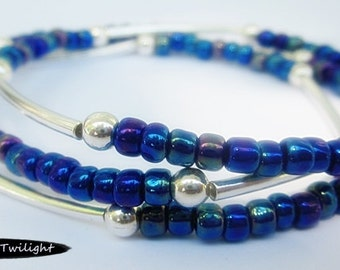 Seed and Noodle Bead Stretch Bracelets - Set of 3 - Dark Blue Rainbow Seed Beads w/Silver Noodle Beads (SN110)