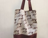 Hand stamped Linen, Tote bag, Shopping bag, Book bag, Cow, Hand printed