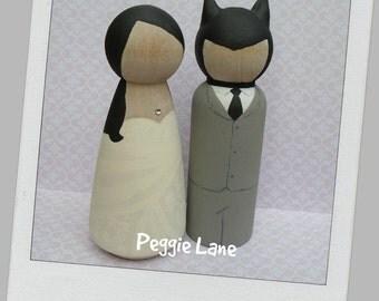 Bride & Bat Groom, Batman inspired personalised peg doll wedding cake topper, batman wedding