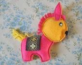 Pink and yellow donkey Handmade plush felt toy Made using an original 1970s vintage pattern