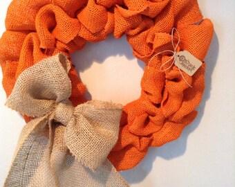 Fall Wreath, Burlap Fall Wreath, Orange Wreath, Halloween Wreath,  Pumpkin Wreath, Thanksgiving Wreath, Autumn Wreath