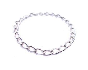 Charm Bracelet Chain - Blank Bracelet Base to create Chunky Cha Cha DIY Jewelry - Kids and Adult Size Bracelets - Jewelry Blank - Silver