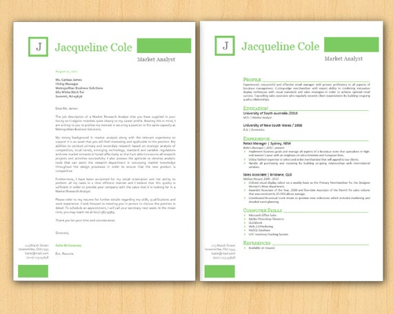 green frame initials bar microsoft word resume 1  u0026 2 p by