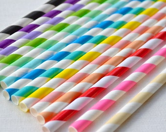 Striped Paper Straws - Coloured Paper Straws - Striped Straws - Paper Straws Gold - Wedding Straws - Straws for Parties - Party Straws