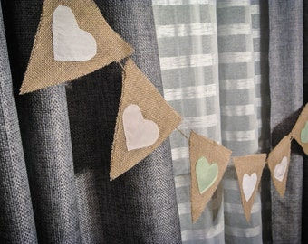 Shabby Chic Heart Banner Photo Prop Rustic Home Décor Garland Bunting