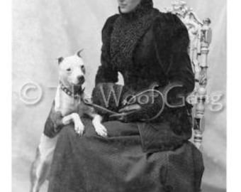 Alice Anderson and Her Staffordshire Terrier/Pit Bull Dog, Iowa, c. 1900
