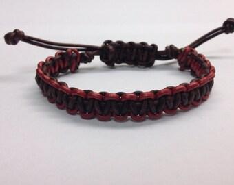 gift idea, men leather bracelet. macrame hadmade bracelet. men red and brown bracelet. handcrafted bracelet. brown leather