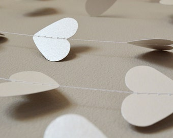 White Wedding Shimmer Hearts Paper Garland - 15m (approx 50ft)