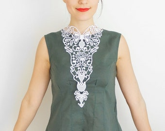 30% Inspiration Venise Lace Necklace Lace Jewelry White Necklace Bib Necklace Statement Necklace Body Jewelry / SALINATRIX