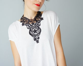 Lace Necklace Lace Jewelry Off Black Necklace Bib Necklace Statement Necklace Body Jewelry Lace Fashion For Her / FILICE