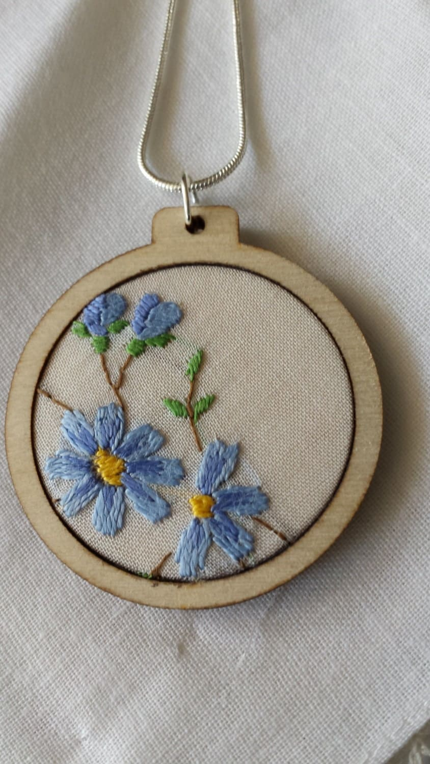Minature vintage embroidery hoop pendant.