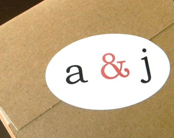 10 Oval Initial Stickers