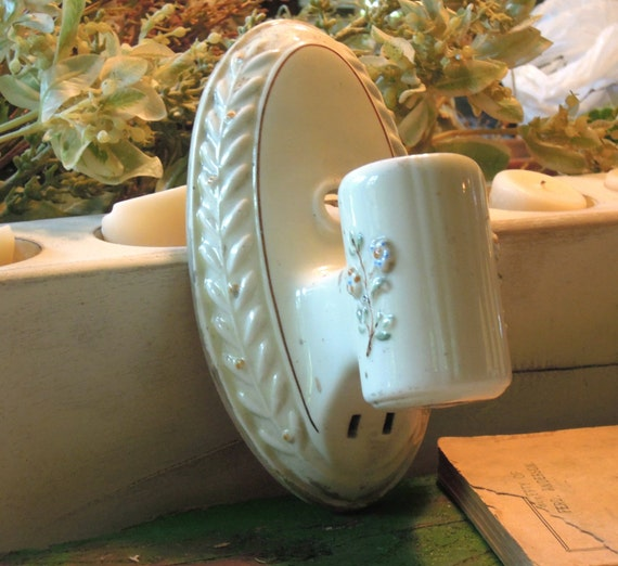 Vintage Ceramic Wall Lights : Vintage White Porcelain Light Fixture / Wall by vintageaddie