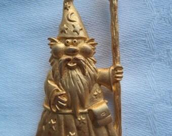 Vintage Signed JJ  Goldtone Wizard Brooch/Pin