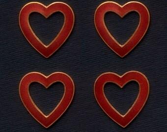 1940's Copper, Enamelled Hearts  - Pendant, Jewellery, Earring, Charm