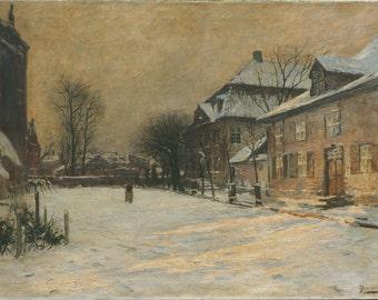 Winter city street antique oil painting by Olof Jernberg Geramny
