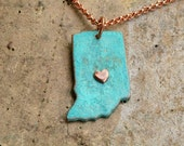 Indiana State Green Blue Turquoise Verdigris patina  Necklace with choice of chain Item E-74