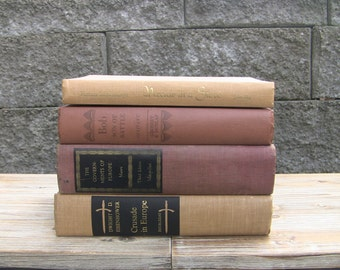 MAKE OFFER! Vintage Books Instant Shabby Chic Neutral Collection, 4 Books-Home Decor Wedding Decor Interior Design